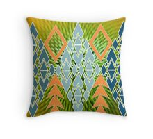 Cool abstract,geometry,teal,mint,greyblue,orange,green,collage Throw Pillow