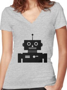 Retro Robot Shape BLK Women's Fitted V-Neck T-Shirt