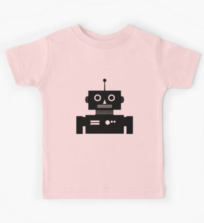 Retro Robot Shape BLK Kids Tee