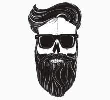 Ray's black bearded skull  One Piece - Short Sleeve