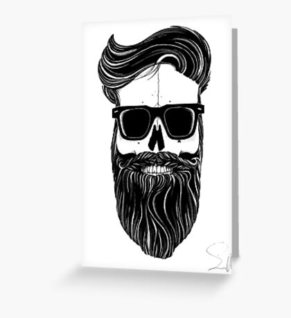 Ray's black bearded skull  Greeting Card