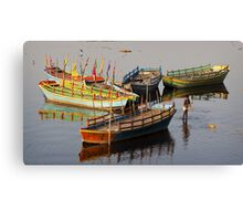 Coloured boats.  Canvas Print