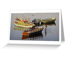 Coloured boats.  Greeting Card