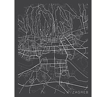 Zagreb Map, Croatia - Gray Photographic Print