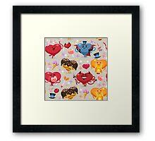 Valentines hearts pattern Framed Print