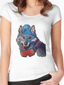 Wolf in Beanie Women's Fitted Scoop T-Shirt