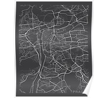 Prague Map, Czech Republic - Gray Poster