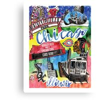 Chicago Collage Watercolor Canvas Print