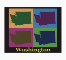 Colorful Washington State Pop Art Map Kids Clothes