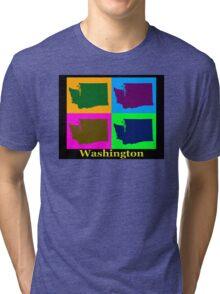 Colorful Washington State Pop Art Map Tri-blend T-Shirt