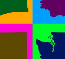 Colorful Washington State Pop Art Map Sticker