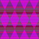 Argyle with Stripes - Magenta and Purple by Dana Roper