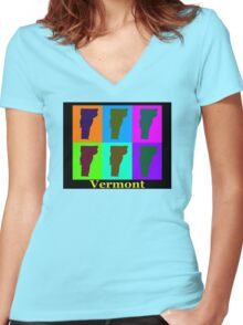 Colorful Vermont Pop Art Map Women's Fitted V-Neck T-Shirt