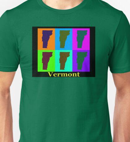 Colorful Vermont Pop Art Map Unisex T-Shirt