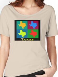 Colorful Texas Pop Art Map Women's Relaxed Fit T-Shirt
