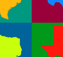 Colorful Texas Pop Art Map Sticker