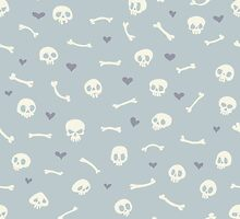 Cartoon Skulls with Hearts on Light Blue Background Seamless Pattern  by Voysla