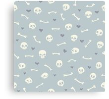 Cartoon Skulls with Hearts on Light Blue Background Seamless Pattern  Canvas Print