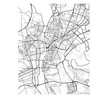 Cairo Map, Egypt - Black and White Photographic Print