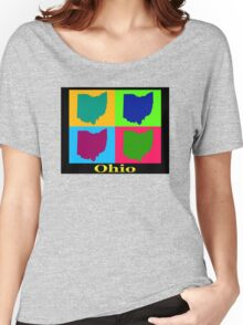Colorful Ohio State Pop Art Map Women's Relaxed Fit T-Shirt
