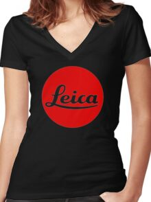 Leica Red Logo Women's Fitted V-Neck T-Shirt