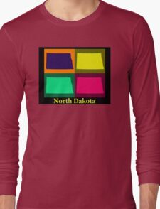 Colorful North Dakota Pop Art Map Long Sleeve T-Shirt