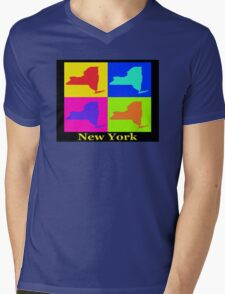 Colorful New York State Pop Art Map Mens V-Neck T-Shirt
