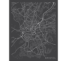 Bristol Map, England - Gray Photographic Print