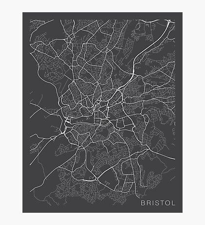 Bristol Map, England - Gray Photographic Print