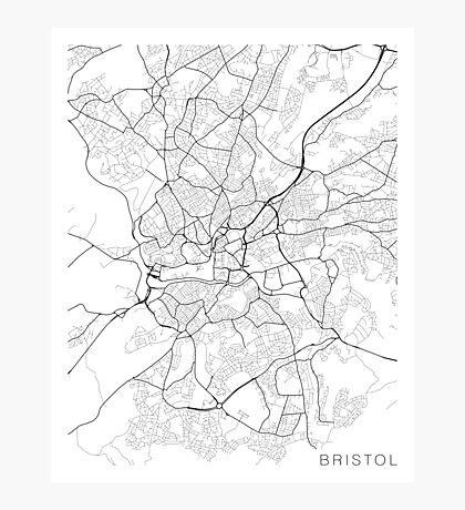 Bristol Map, England - Black and White Photographic Print
