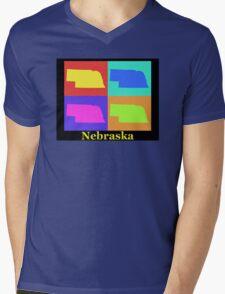 Colorful Nebraska State Pop Art Map Mens V-Neck T-Shirt