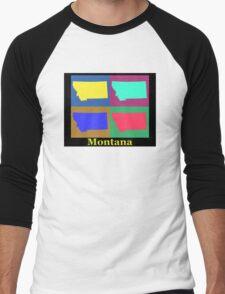 Colorful Montana State Pop Art Map Men's Baseball ¾ T-Shirt