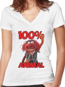 Muppets 100 Animal oder Geburtstagsgeschenk Women's Fitted V-Neck T-Shirt