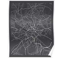 Leeds Map, England - Gray Poster