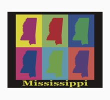 Colorful Mississippi State Pop Art Map Kids Clothes
