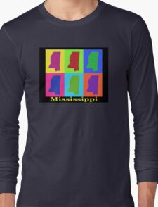 Colorful Mississippi State Pop Art Map Long Sleeve T-Shirt