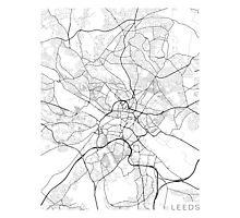 Leeds Map, England - Black and White Photographic Print