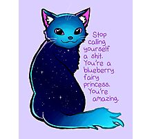 """""""You're A Blueberry Fairy Princess"""" Galaxy Cat Photographic Print"""