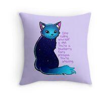"""You're A Blueberry Fairy Princess"" Galaxy Cat Throw Pillow"