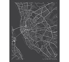 Liverpool Map, England - Gray Photographic Print