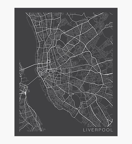 Liverpool Map, England - Gray Photographic Print