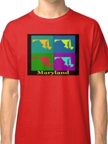 Colorful Maryland Pop Art Map Classic T-Shirt