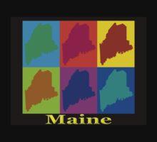 Colorful Maine Pop Art Map Kids Tee
