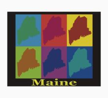 Colorful Maine Pop Art Map One Piece - Long Sleeve