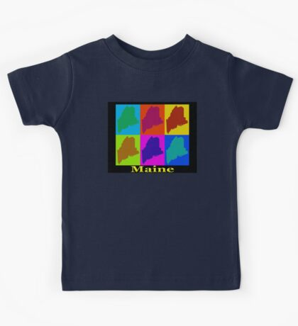 Colorful Maine Pop Art Map Kids Tee