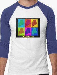 Colorful Maine Pop Art Map Men's Baseball ¾ T-Shirt