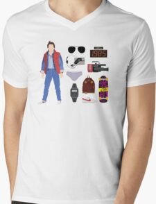 Back to the Future : Time Traveler Essentials 1985 Mens V-Neck T-Shirt