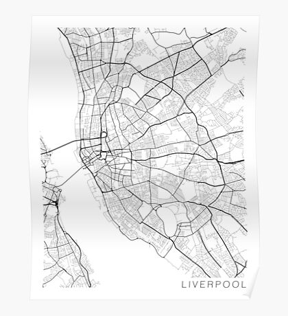 Liverpool Map, England - Black and White Poster