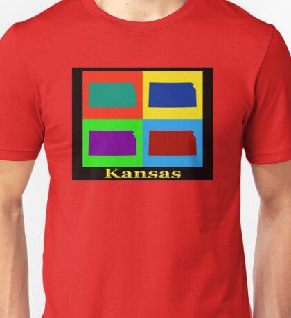 Colorful Kansas Pop Art Map Unisex T-Shirt
