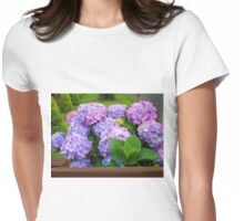 Beautiful Hydrangea Blossoms - Blue, Purple and Pink Womens Fitted T-Shirt